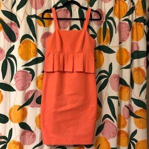J Crew coral sleeveless peplum dress orange pink